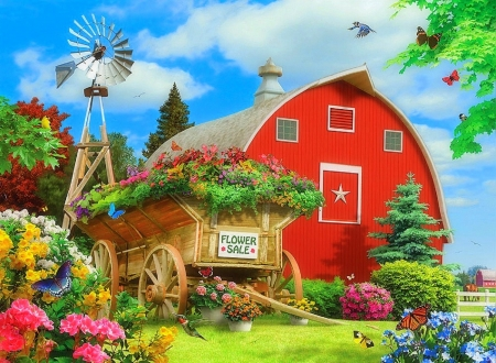 Flower Sale - birds, love four seasons, butterflies, attractions in dreams, paintings, wagon, flowers, garden, summer, nature, barns