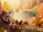 Autumn Bears & Fox