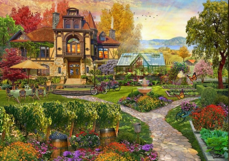 Okanagan Vineyard Retreat - digital, garden, flowers, path, trees, artwork, table, glasshouse, cottage, chairs, bicycles