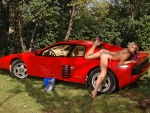 Bikini Model Gina Washing her Ferrari