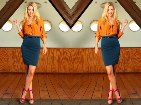 Virginia Gardner - legs, model, Gardner, skirt, Virginia, beautiful, blouse, heels, Virginia Gardner, 2019, actress, wallpaper, hot, Ginny