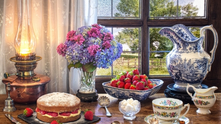 Tea Time - cake, table, lamp, window, flowers, painting, garden, porcelain, strawberries