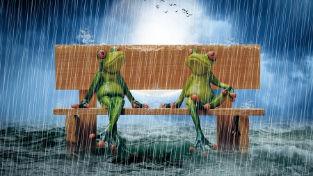 Rain Resistant - water, sky, art, frogs, bench, clouds