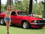 Angelina with her 1970 Mustang Mach I