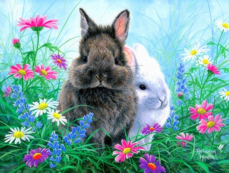 TIMOTHY & EINSTEIN - nature, spring, animals, love four seasons, paintings, rabbits, summer, garden, flowers