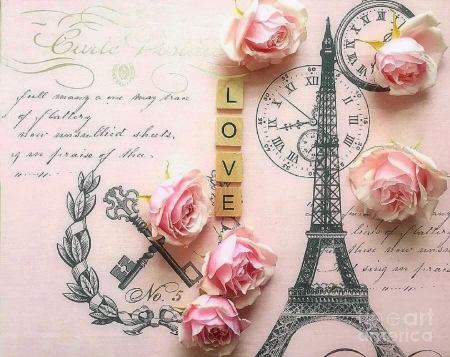 Paris of Love - valentines, keys, chic, romantic, paris, love four seasons, decors, roses, French, Eiffel Tower, Paris, love, flowers, pink, beloved valentines