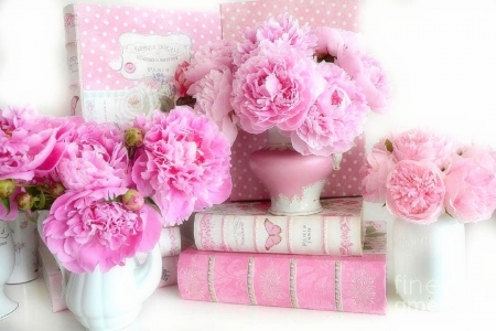 Pink Peonies - chic, romantic, books, love four seasons, flowers, pink, peonies, lovely still life, photography, beloved valentines