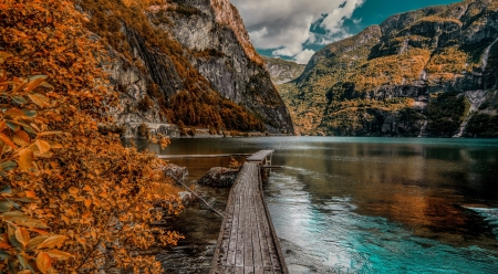 Autumn Lake - rocks, mountains, pier, reflections, trees, sky, clouds, lake