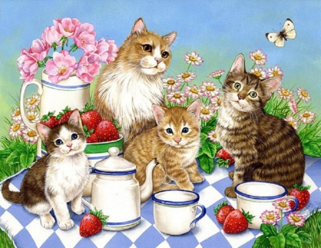time for tea - painting, family, cats, animals