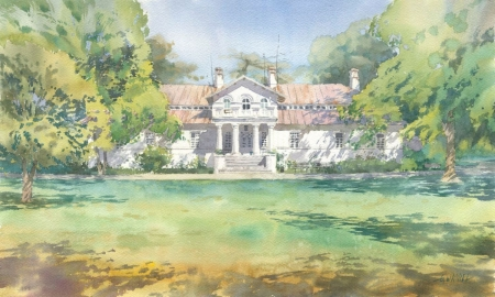Manor House in Lucznica - painting, clouds, sky, trees, manor, landscape, architecture, house, grass, beautiful, water color