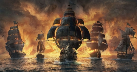 Skull and Bones - golden, black, game, pirate, sea, luminos, ubisoft, skull and bones, fire, water, fantasy, ship
