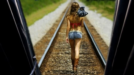 Back To The Ranch . . - cowgirl, boots, outdoors, door, brunettes, train, tracks, style, western