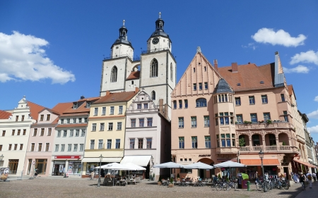Wittenberg, Germany - church, Germany, houses, square, streetscape, clock