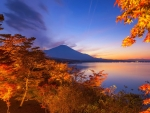 Japanese lake in autumn
