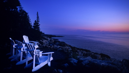 Acadia National Park at Twilight - Oceans, Sunsets, Nature, Twilight, National Parks, Seashore