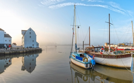 Harbor in England - yachts, calm, river, reflection, mist, harbor, England, sailboats