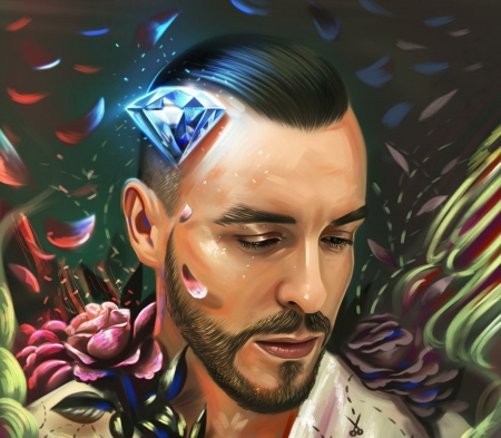 Cem Adrian - face, man, singer, portrait, diamond, red, art, yasar vurdem, rose, Cem Adrian, flower, petals