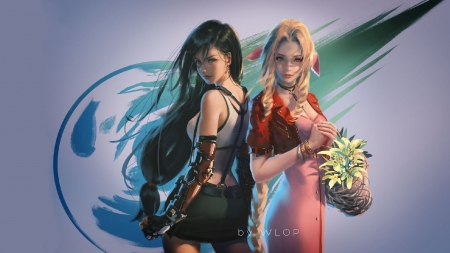 Tifa and Aerith - black, flower, final fantasy, art, elf, aerith, blonde, wlop, brunette, fantasy, girl, tifa