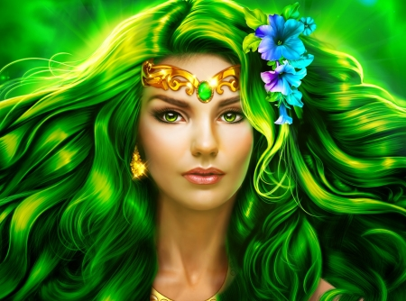 Green Lady - girl, art, fantasy, green, wallpaper, digital, beautiful