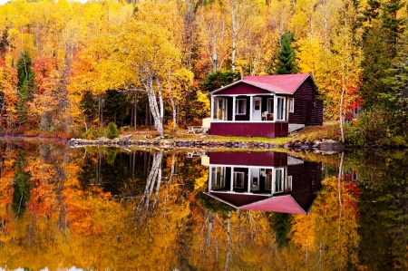 Autumn reflections - house, beautiful, reflections, lake, foliage, forest, fall, colorful, tranquil, serenity