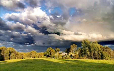 Early Autumn in Latvia - Latvia, clouds, landscape, field, autumn