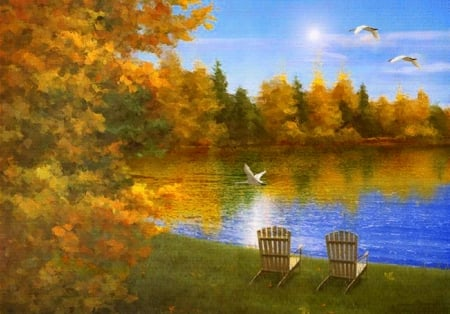 fall by the lake - painting, fall, lakes, nature