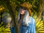 Cowgirl with Platinum Blonde Hair