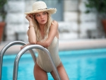 Swimsuit Model with Matching Hat