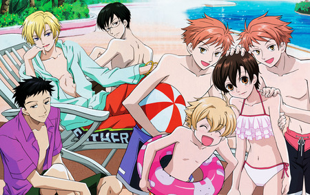 Ouran Beach - beach, club, ouran, host, highschool