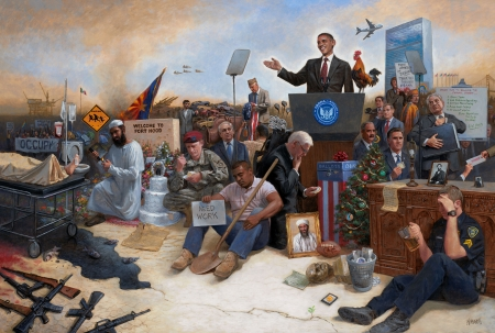 Obamanation - jon mcnaughton, art, people, painting, obama, man, pictura