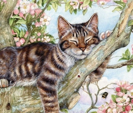 Cat - art, tree, painting, polyanna pickering, spring, cat, pisici, pictura