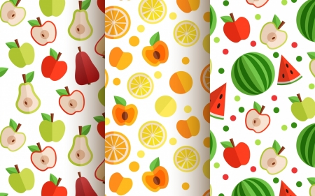 Texture - texture, watermelon, paper, white, pattern, red, apple, orange, fruit, green, peach