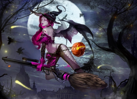 Sweet Witch - fantasy, girl, wallpaper, digital, woman, broom, art, witch, halloween, beautiful