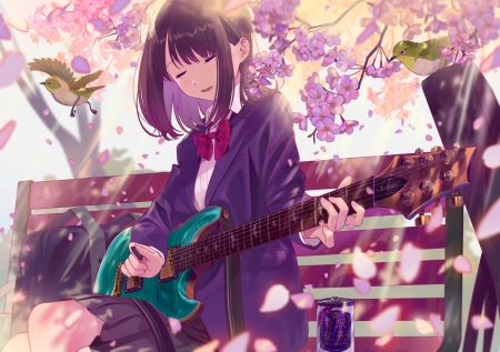 :) - poligon046, instrument, girl, guitar, purple, anime, manga