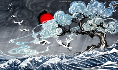Up in the clouds - yuumei, sea, red, art, cloud, luminos, crane, tree, fantasy, water, bird, blue
