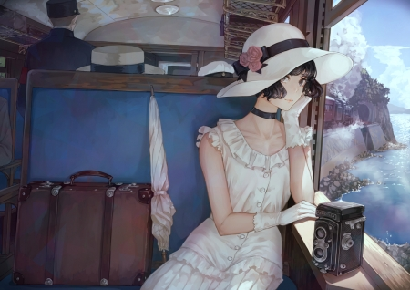 One for a while - anime, beauty, anime girl, pretty, hd, dress, bag, umbrella, beautiful, adorable, adore, sweet, nice, blue, gorgeous, luggage, lovely, female, hat, cute, kawaii, girl, white, lady, maiden