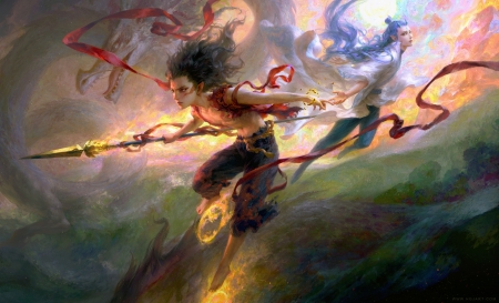 :) - art, fantasy, frumusete, luminos, fighter, hgjart, man, dragon