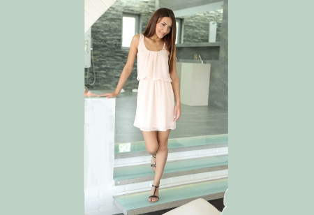 Alexis Brill - posing on steps, open shower, bathroom, sandals, small window, light pink dress
