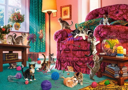 Naughty Kittens - cats, lamp, wool, painting, armchair, flowers, room