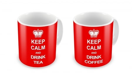 Tea and Coffee - cups, red, coffee, drink, tea, white, vector
