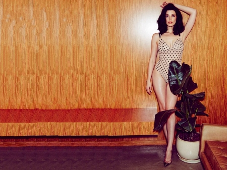 Jessica Pare - beautiful, Jessica Pare, Pare, model, legs, plant, lingerie, heels, Jessica, 2019, actress, wallpaper, hot