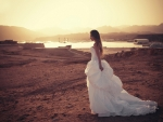 Brunette bride at sunset on the beach