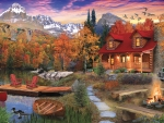 Log Cabin in Autumn
