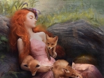 Sleeping beauty with foxes