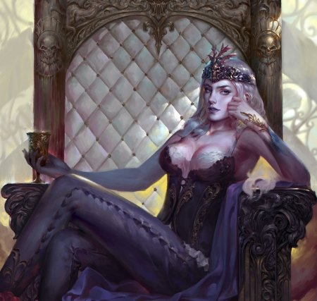 Queen - art, frumusete, fantasy, purple, zhen long, girl, throne, luminos