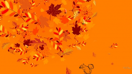 Leaves of Many Falls - autumn, leaves, aspen, orange, maple, brown, oak, fall, squirrel, birch
