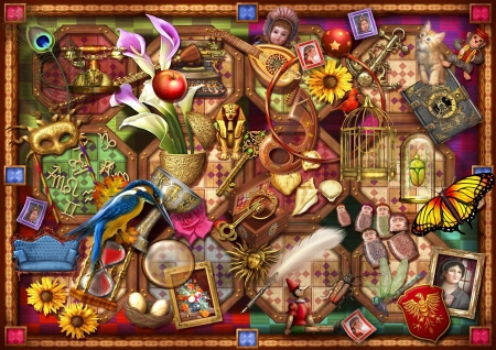 The Collection - art, apple, sphinx, birds, cat, cage, butterfly, digital, eggs, instruments, flowers, mask, shells