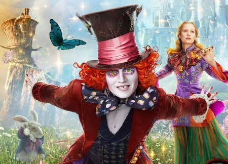 Alice Through the Looking Glass (2016) - movie, girl, alice through the looking glass, man, Johnny Depp, mad hatter, red, poster, fantasy, disney