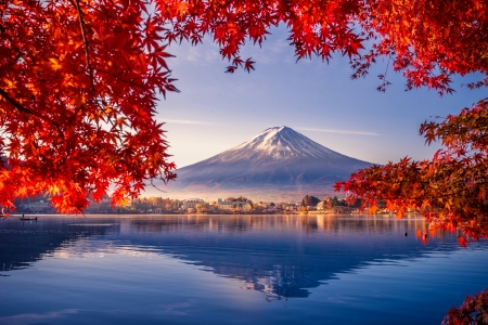 Colorful autumn season - fall, colorful, red, autumn, Japan, view, beautiful, Fuji, lake, mountain, tree, leaves, season, branches, reflection