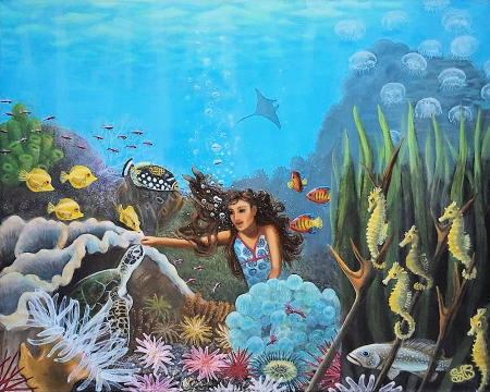 Sophia's Dream - corals, mermaid, jellyfish, fish, artwork